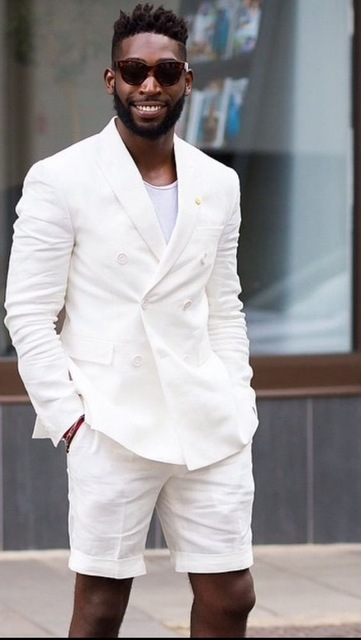 Short Pants Style Ivory White Men Suit Custom Slim Fit 2