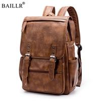 2018 New Brand Designer Men PU Leather Backpack Vintage Daypack Multi Pocket Casual Rucksack Vintage Handmade