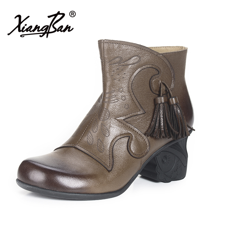 Xiangban Vintage Fringed Boots Women Thick Heel Shoes Handmade Female Ankle Boots Sheepskin handmade women shoes leather ankle boots 41 42 high heel women boots black brown thick heel shoes handmade vintage xiangban