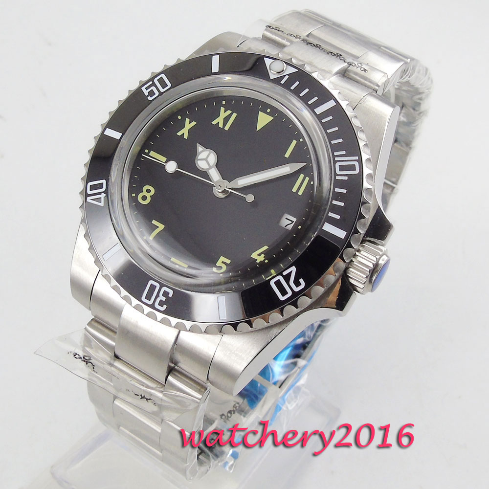 NEW Arrive 40mm Black Sterile Dial Military Date Stainless steel Rotating Ceramic Bezel Automatic Mechanical Mens Watch Business