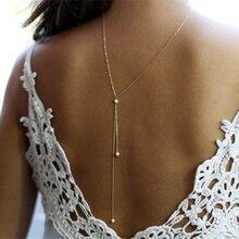 08b89609bf00 Estilo europeo mujeres larga ajustable simulado-Cadena de perlas a collar  de oro plata mujer Backlace espalda caída accesorio de.