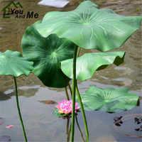 1Pc 17/28cm Artificial Lotus Leaf With Long Stem Floating Pool Decorative Aquarium Fish Pond Scenery Garden Decoration