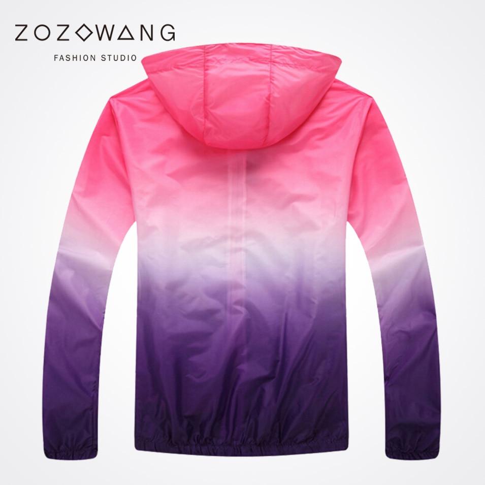 Zozwang Unisex Fashion Slim Coat UV rainbow Sunscreen Clothing Plus Size Long Sleeved Casual Jacket Women Basic Coats in Jackets from Men 39 s Clothing