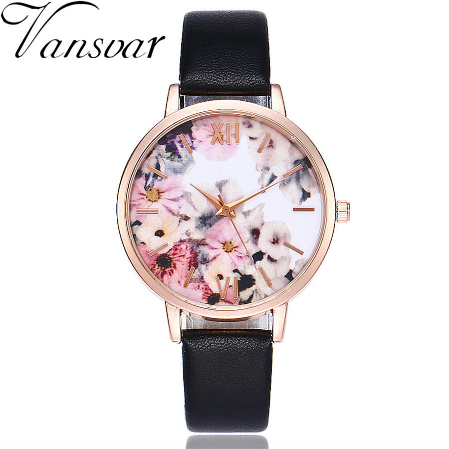 Vansvar Brand Women Flower Watch Rose Gold Leather Wristwatches Casual Women Dress Ladies Quartz Clock