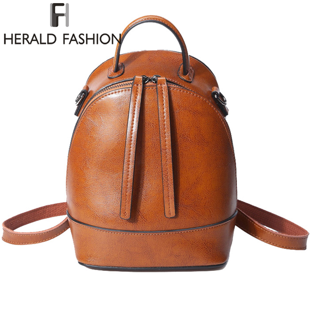 Herald Fashion Backpacks for Women Leather Genuine Leather School Bag for Teenage Girls Cow Leather Women Shoulder Bag рюкзаки zipit рюкзак shell backpacks