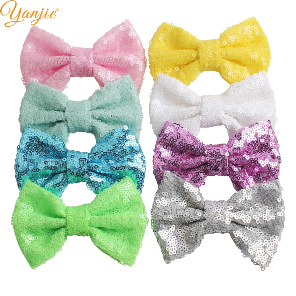 60pcs lot 4 Gold Silver Knot Sequins Bow Solid Glitter Hair Bow For Girls And Kids