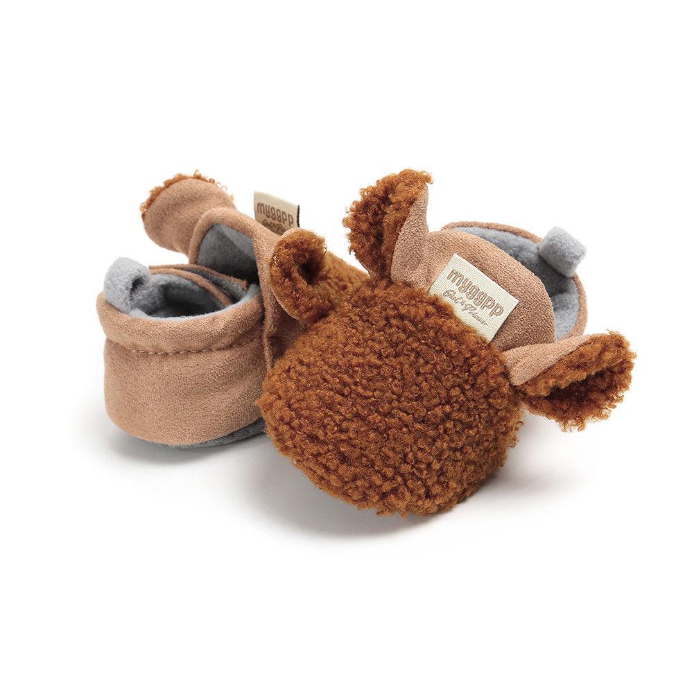 2018 Brand New Toddler Newborn Baby Crawling Shoes Boy Girl Lamb Slippers Prewalker Trainers Fur Winter Animal Ears First Walker 3