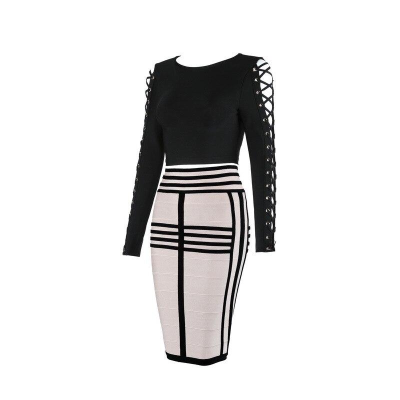 Robe Mode 2016 Femmes Moulante Sexy Pièce 2 Tricoté Bandage Élégant Designer Multi De YgYFwR