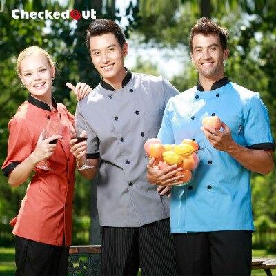 New Hot Sale Hotel/kitchen Uniform Short Sleeved Working Chef Vest Men/ Women Design Restaurant Tops Multi Color Free Shipping