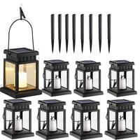 8 Pcs Solar Lantern Hanging Solar Lights Candle Effect Light with Stake for Garden,Patio, Lawn, Deck, Umbrella, Tent, Tree,Yard,