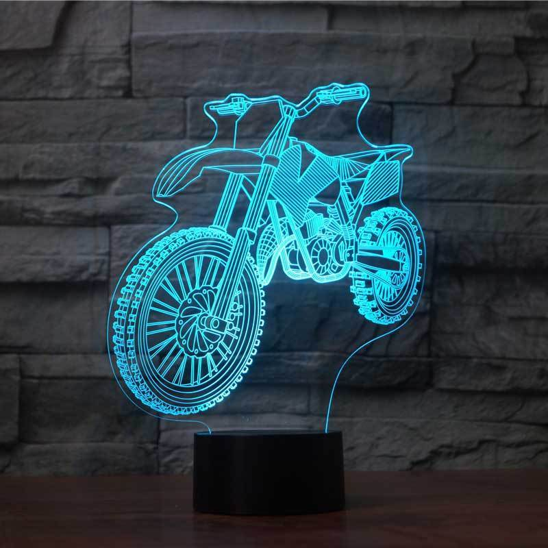 USB Novelty 3D Table Lamp 7 Colors Changing Motorcycle Led Night Light Kids Bedroom Bedside Sleep Lighting Decor Creative Gifts elephant shape night light 3d stereo vision lamp 7 colors changing acrylic usb bedroom bedside night light creative desk lamp