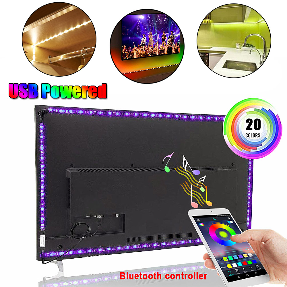 RGB Tape Bluetooth USB LED Strip TV Background Flexible Neon Ribbon Tira Lamp 5V 0.5M SMD 5050 RF Controller LED RGB Strip Light