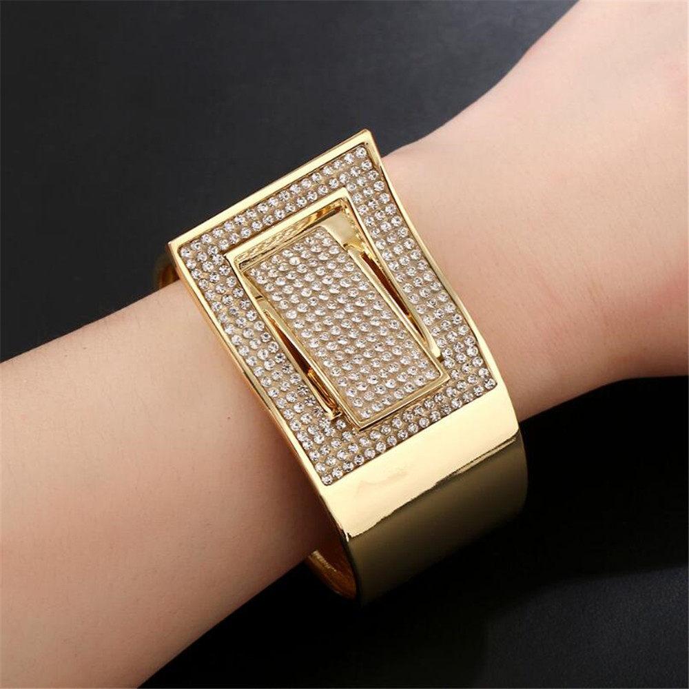 SUN 1PC Lot Exaggerated Luxury Rhinestone Bangle Jewelry European Fashion  Gold Color Women 11f42e530dc3