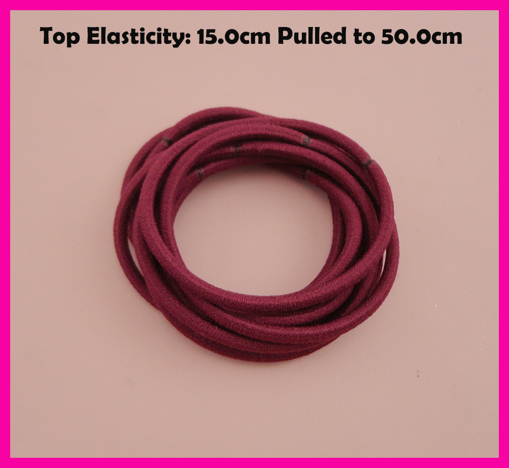 50PCS 3mm Top Elasticity Burgundy Elastic Ponytail Holders rope with gluing connection,Wine Red elastic hair ties hair bands