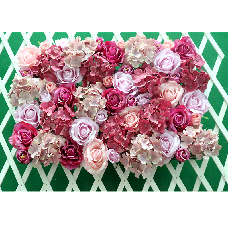 Flone Wedding Decoration Silk Roses Hydrangea Flowers Wall Wedding Background Decoration Arch Flower Row Decoration (11)