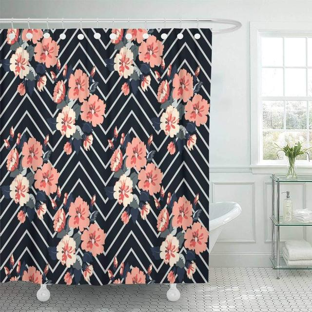 Fabric Shower Curtain With Hooks Gorgeous Pattern In Cute Simple Flowers Composite Overlay Floral Fills Decoupage Bathroom Decor