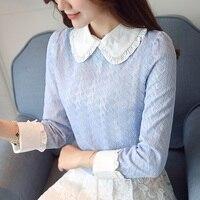 Korean Style Sweet Lace Blouse Women 2018 Spring Autumn Peter Pan Collar Long Sleeve Cute Light