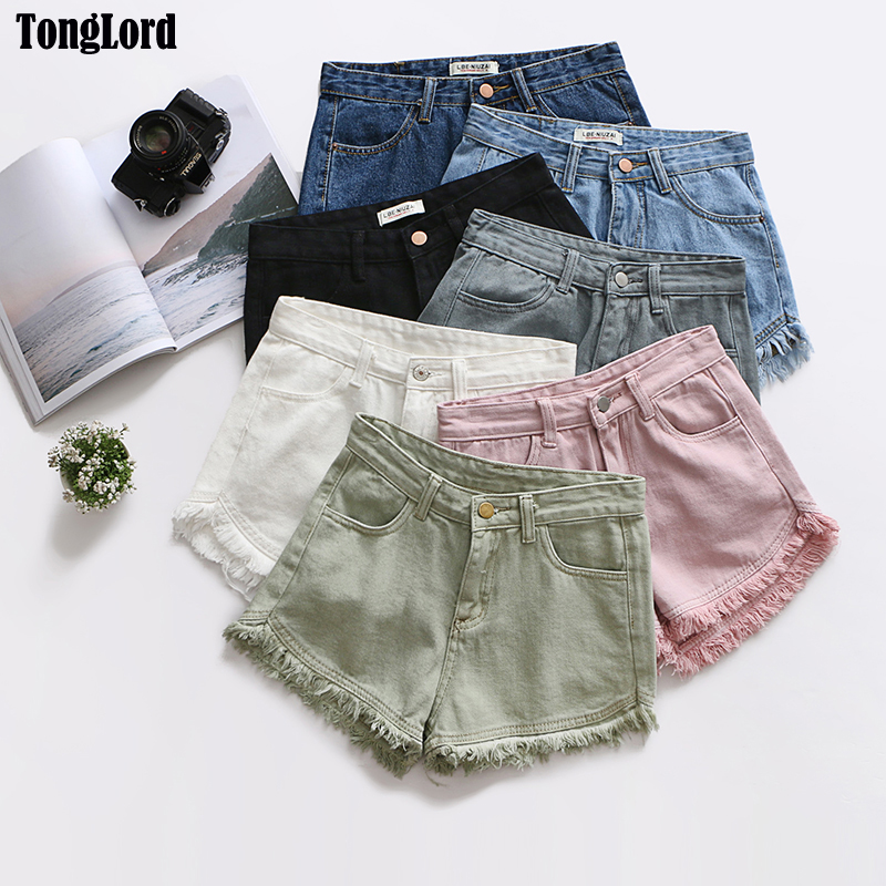 TongLord Distressed Tassel Denim Shorts 2018 Summer Retro Blue Ripped Fringe Short Zipper Fly Women Fashion Denim Casual Short