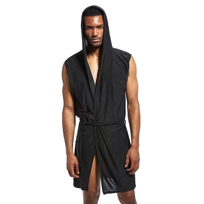 Men Pajamas Nightgown Sleepwear Bathrobe Sleeveless Soft Sexy Summer For Home M8694