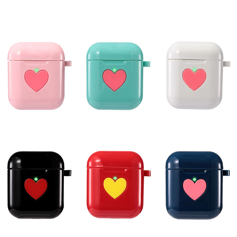 For airpods case New with Wireless Charging Case headphones Box cover Carbon Love shape 2 lovely 2019