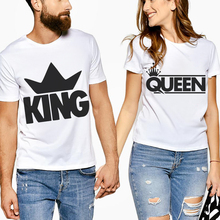 New Arrival Couple T Shirt For Lovers Husband And Wife Funny Letter King Queen Print Tee Shirts Tops White Men Women Valentin цена 2017