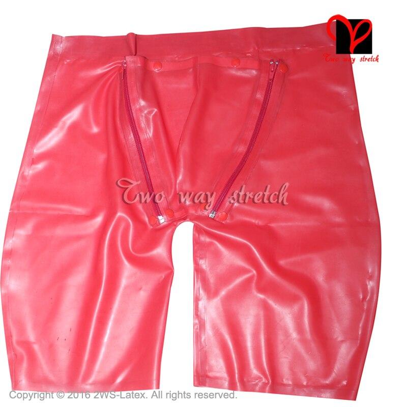 Sexy Pantalon En Latex Cod piece Fermetures À Glissière En Caoutchouc jambe longue boxeur shorty Gummi Poche Chaps culottes trou Bermudes rabat KZ-118