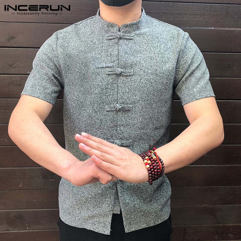 Chinese Style Men Shirt Button Stand Collar Short Sleeve Casual 2