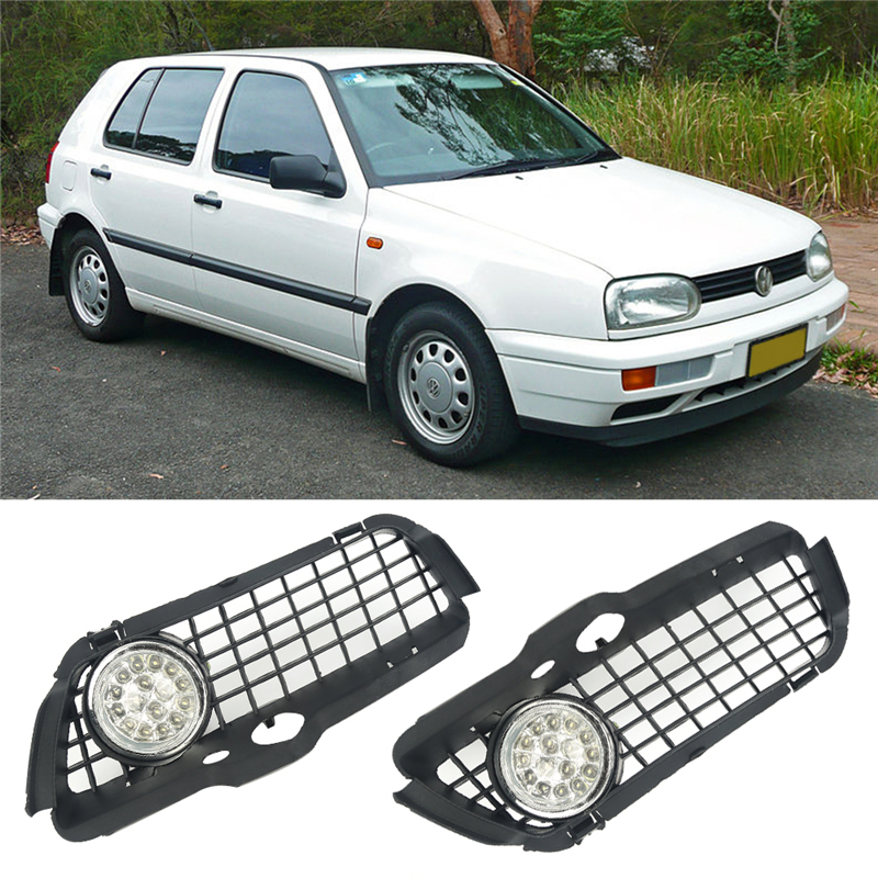 1pair Left And Right LED Driving Fog Lamp Fog Light&Chrome Ring Grille&Wire set For 1992-1998 VW JETTA GOLF MK3