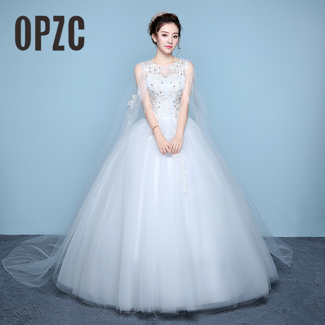 Low Price Lace Y Boat Neck And Very Beautiful With Long Shawl Ball Gown Wedding Dresses