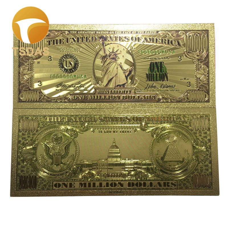 1pc $1 Million Dollar Bill Banknotes Decoration Antique Plated Gold USA Souvenir Home Decoration Drop Shipping