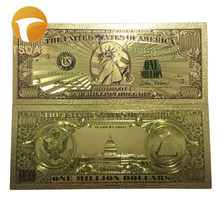 1pc $1 Millionen Dollar Bill Banknoten Dekoration Antike Überzogene Gold USA Souvenir Home Dekoration Drop Verschiffen(China)