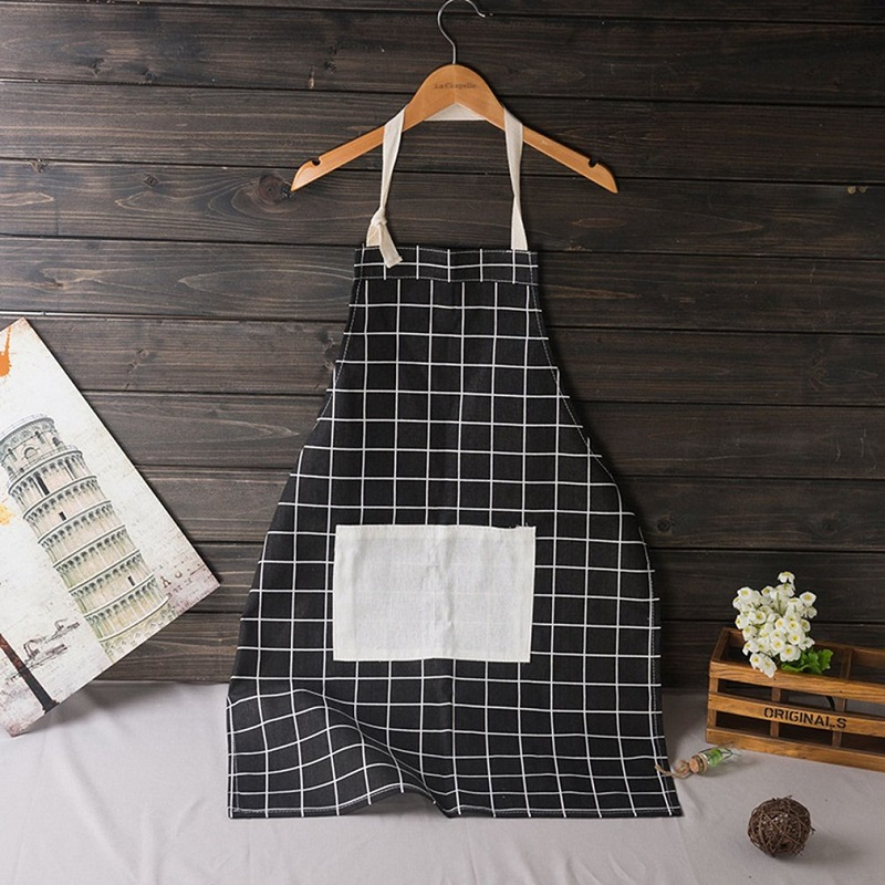 Modern Simple Style High Quality Pocket Cotton Waterproof Women Kitchen Apron Adjustable Sleeveless Cooking Work Apron in Aprons from Home Garden