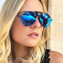 PAWXFB Polarized Sunglasses Women Oversized Mirror Ladies 2019 Pilot Alloy frame Polygon Sun glasses for women UV400