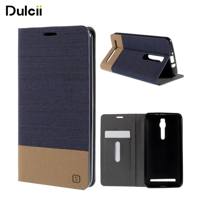 DULCII For Asus Z00AD Zenfone 2 ZE550ML ZE551ML Z008D 5.5-inch Assorted Color Linen Leather Case Cover for Zenfone2 Bag