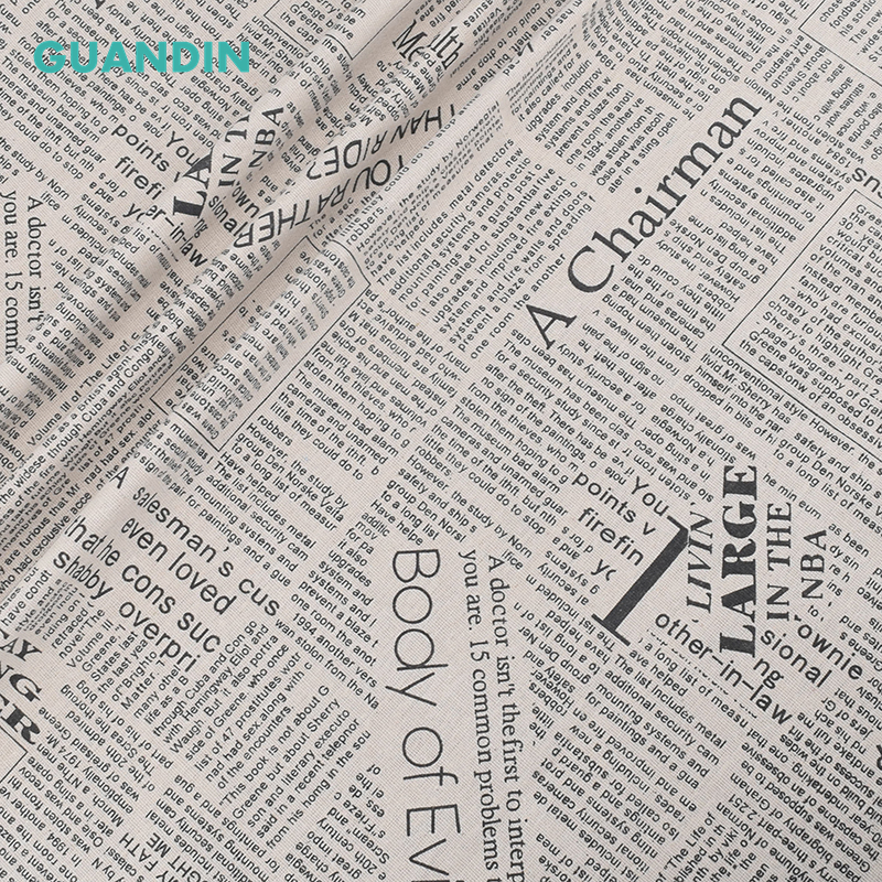 GUANDIN, 100*145 cm periódico patrón impreso algodón tela de lino ...