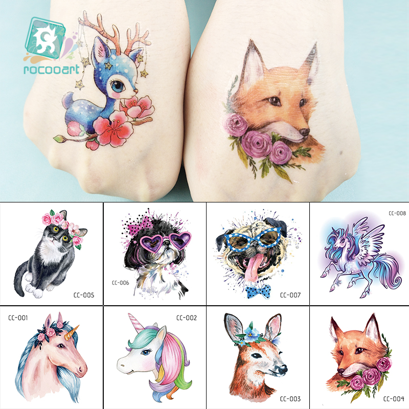 New Cartoon Unicorn Tattoo For Kid Cute Horse Dog Deer Fake Taty Children Tatouage Temporaire Body Art Waterproof Tattoo Sticker