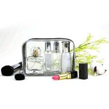 Zipper PVC Makeup Bag Geometric Women Travel PVC Transparent Makeup Bag Refiilable Bottle Organizer Case 17x6x12cm