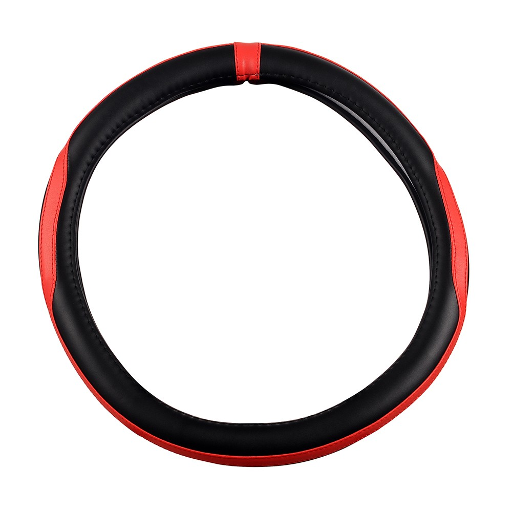 AuMoHall PU Leather Car Steering Wheel Cover Universal-fit Car Interior Accessories 37.5cm