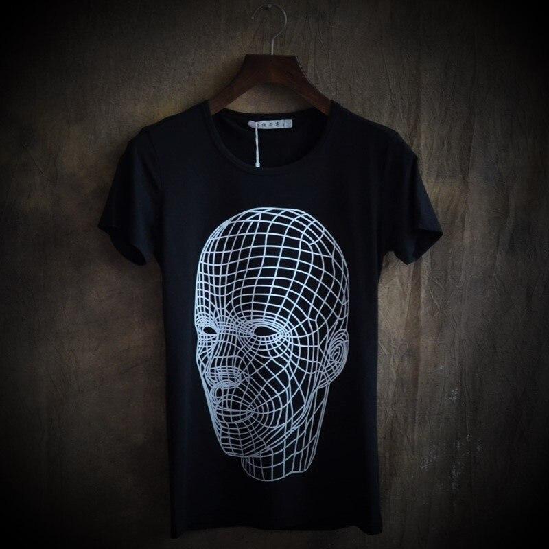 Easy care brief 2014 casual summer t-shirt male slim print short-sleeve T-shirt headcounts