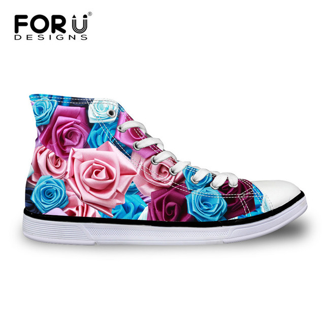 d26123d883 FORUDESIGNS Fashion Floral Pattern Women Casual High Top Canvas Shoes Lace  up Vulcanized Shoes for Female Flower Zapatos Mujer-in Women's Vulcanize ...