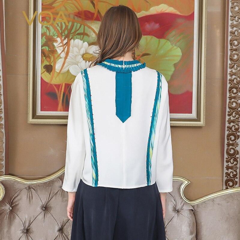 VOA Heavy Silk Plus Size Beading T Shirt Bat Long Sleeve Patchwork Slim Women Tops White Basic Casual Pullover Tee Spring B107 - 2