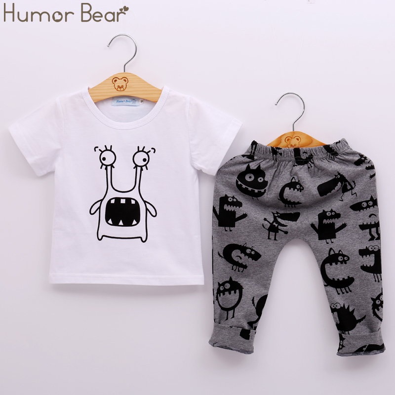 Humor Bear New Style Summer Baby Clothing Sets Boy Cotton Cartoon Short Sleeve 2Pcs Baby Boy Clothes Set 2pcs set baby clothes set boy