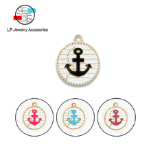 Trendy Round anchor Pendant DIY jewelry accessories handmade charms earrings necklaces making & Components Material 10pcs/lot