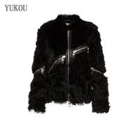 Double Faced Fur Women Dress 2018 Winter Fashion Sheepskin And Woolen Outwear Merino Sheep Fur Warm And Thick