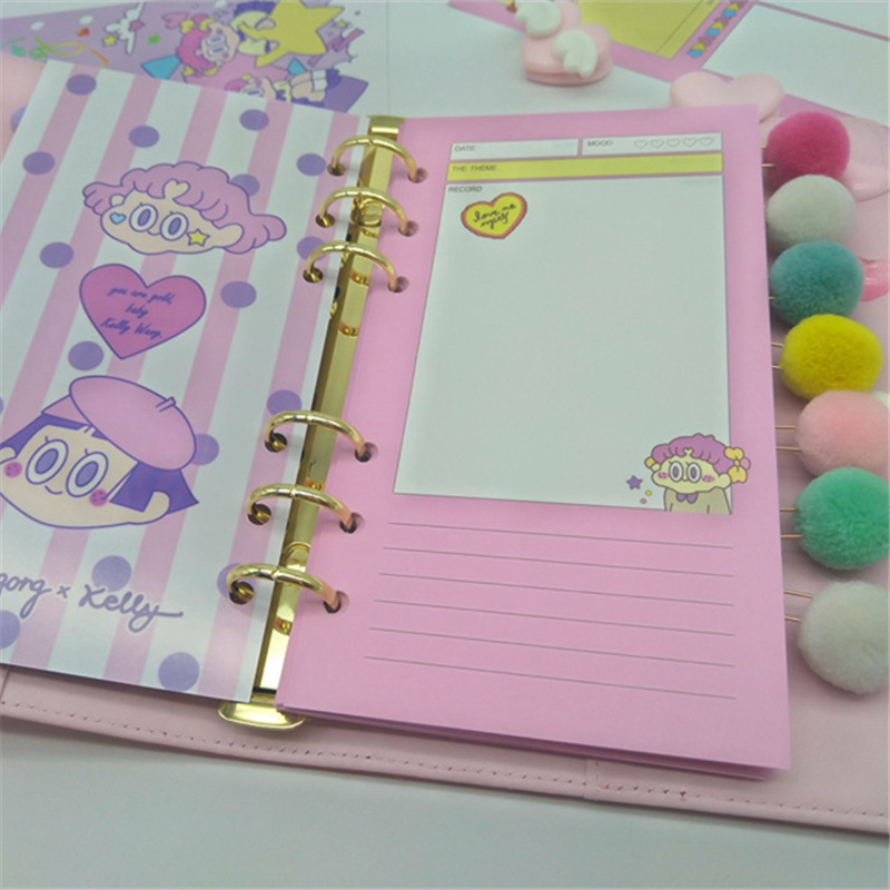 New Girl INS, Japan And South Korea Pink Cartoon Color Suit For Core A5 A6 Inner Core Hand Books Inside Pages
