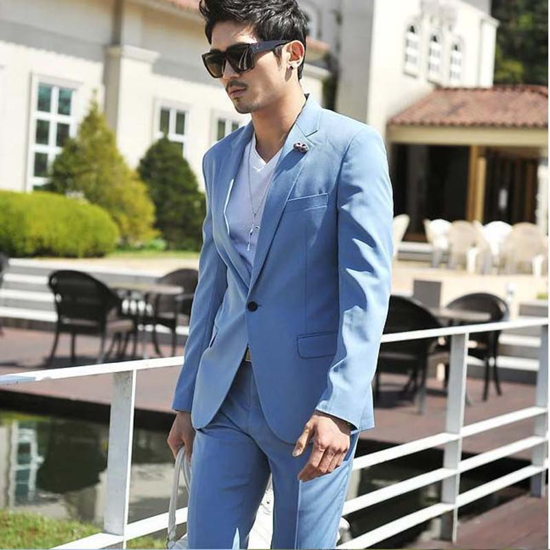 Latest Designs Wedding Prom Groom Suits for men Slim Fit Tuxedo Mens Sky Blue Handsome suit with pants 2017 ( jacket+Pants+tie)
