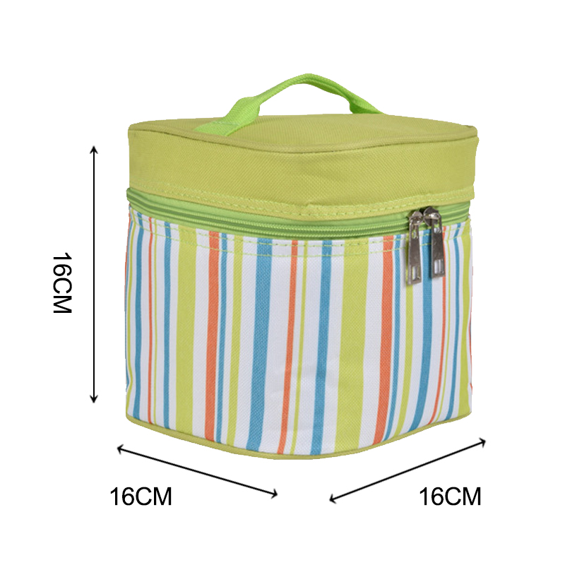 Laumans Striped Lunch Bag Men Women Kids Thermal Insulated Food Box Tote Freezer Cooler Bags Bento Boys Family Picnic Pouch