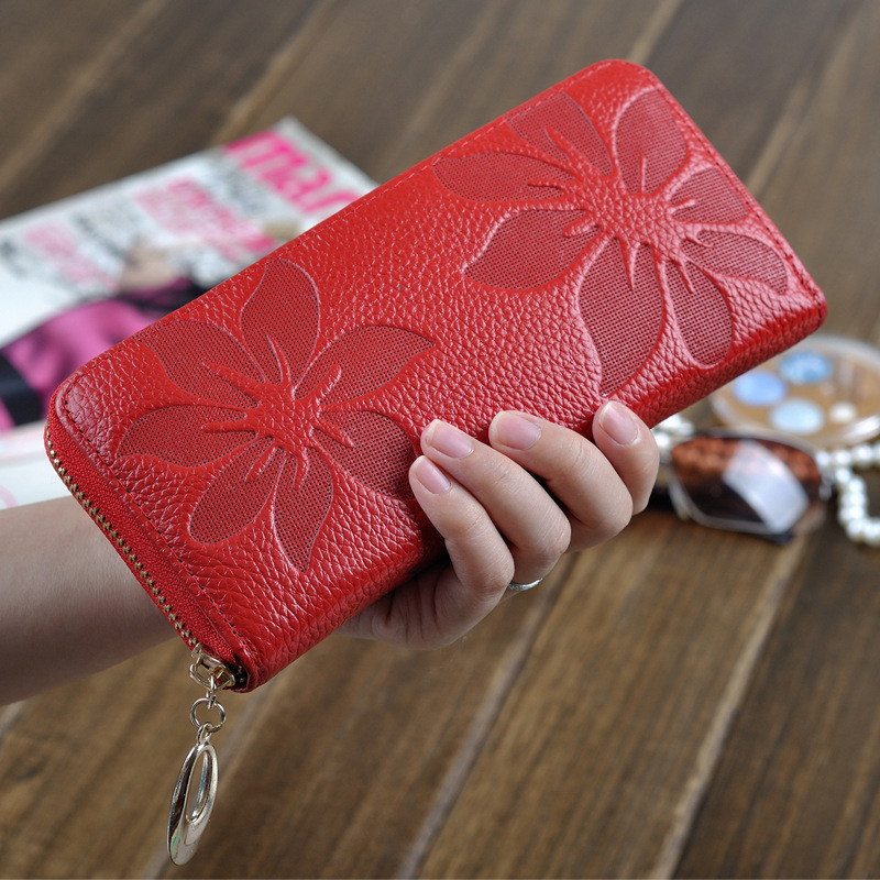 Genuine Leather Wallet Female Long Zipper Women Purses Carteira High Quality Lady Wallet Purse Clutch Phone Pocket Card Holder купить