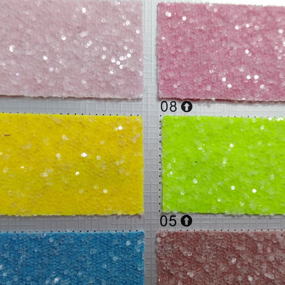 Tissu en cuir de paillettes Chunky de couleur Fluo pour accessoires de bricolage, sacs de papier peint et chaussures P1361