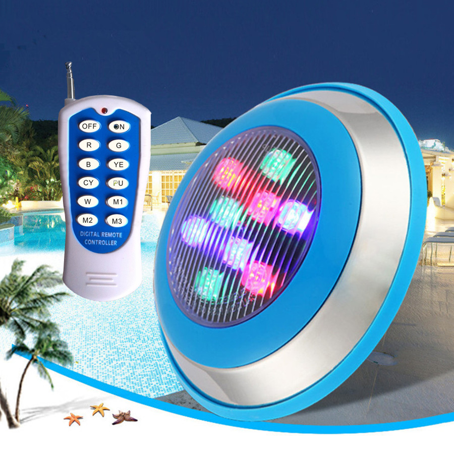 Thrisdar IP68 RGB Led Swimming Pool Light With Remote Controller AC12V/24V Outdoor Underwater Pond Lake Aquarium Fountain Light 16w led rgb underwater light waterproof ip68 fountain swimming pool lamp colorful change with 24key ir remote